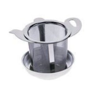 Mesh mug infuser with drip saucer