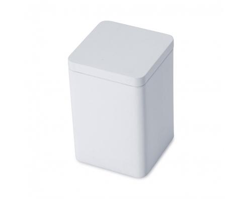 white square tea caddy